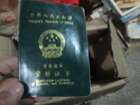 老证书老证件:中华人民共和国专业技术资格证书(孙旼)