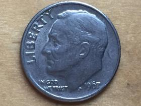 美国 10分 硬币 1dime  1967