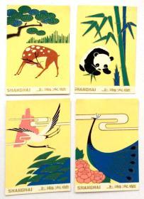 火花贴标:动物(4枚)上海火柴