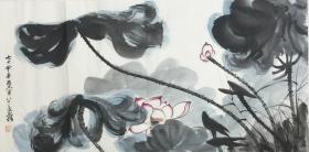 ★【順豐包郵】【純手繪】【張大千】中國著名國畫大師、手繪三尺花鳥畫(100*50CM)★1買家自鑒。