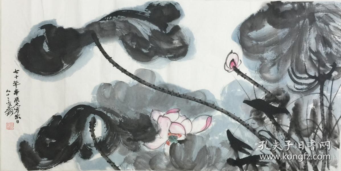 ★【顺丰包邮】、【纯手绘】【张大千】中国着名国画大师、手绘三尺花鸟画(100*50CM)★6买家自鉴。