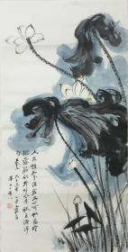 ★【顺丰包邮】、【纯手绘】【张大千】中国著名国画大师、手绘三尺花鸟画(100*50CM)★8买家自鉴。