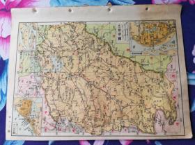 12特价民国16开江西省地图和湖北省地图包老怀旧