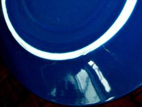 建国初,蓝釉盘四个