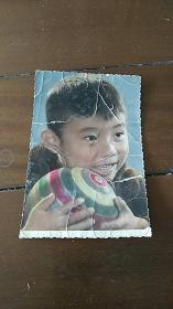 儿童抱球 手工上色 彩色 老照片