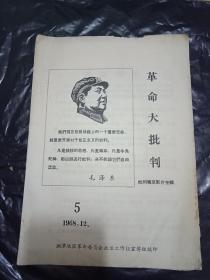 1968年  革命大批判   批判毒草电影片专辑   --封面有毛主席右像    湘潭地区少见