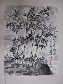 芜湖名家。潘万祥。竹子画,一副,保真。