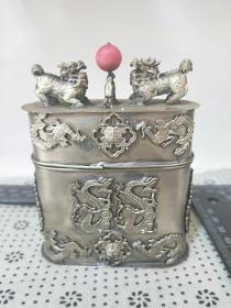 铜鎏银烟丝盒,浮雕刻【龙凤烟丝盒】文银款,铜盒,收藏把玩鼻烟壶!长为厚度.