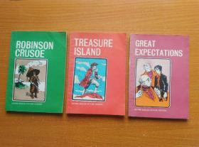 英文书三本《ROBINSON  CRUSOE》《TREASURE ISLAND》《GREAT EXPECTATIONS》