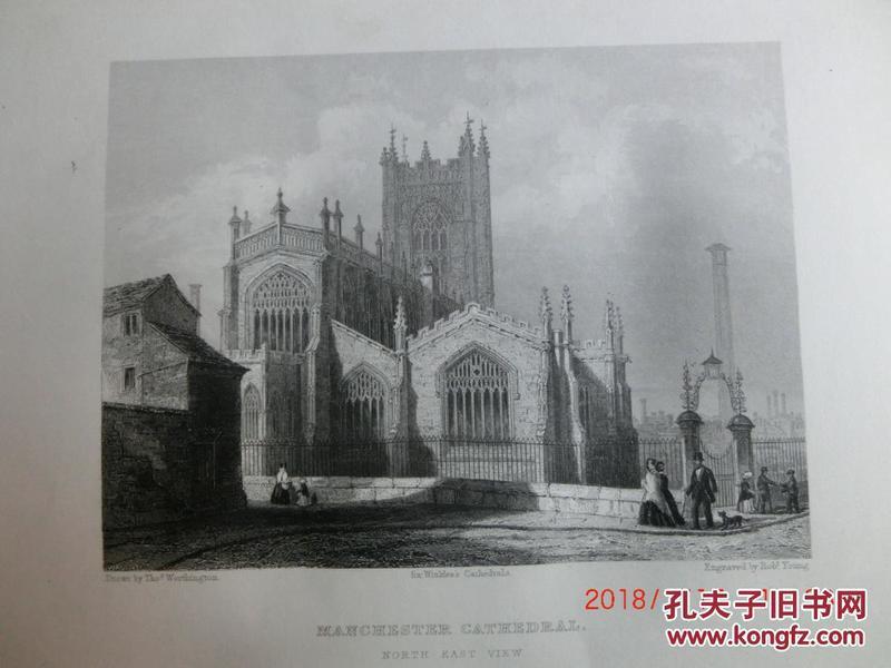 【現貨 包郵】1860年鋼版畫 英格蘭和威爾士教堂《 MANCHESTER CATHEDRAL  north east view 》  尺寸26.4×17.4厘米