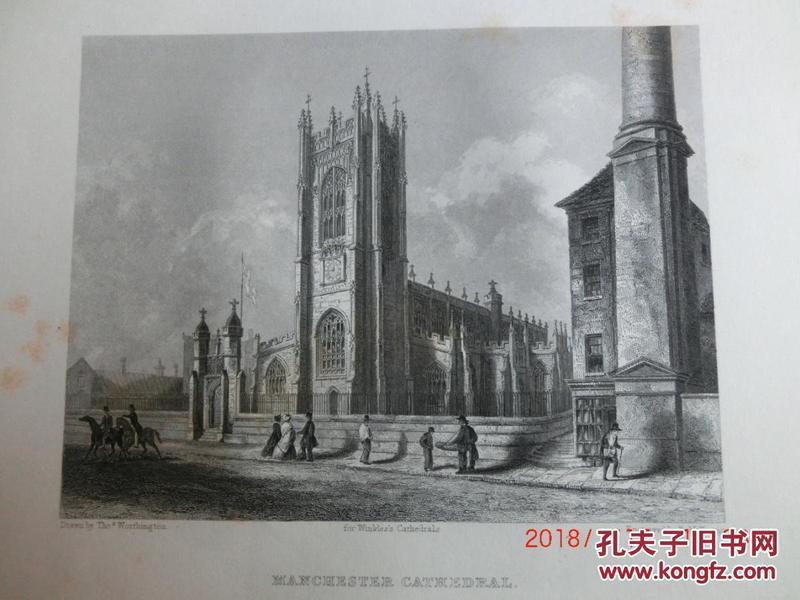 【現貨 包郵】1860年鋼版畫 英格蘭和威爾士教堂《 MANCHESTER CATHEDRAL   south west view  》  尺寸26.4×17.4厘米