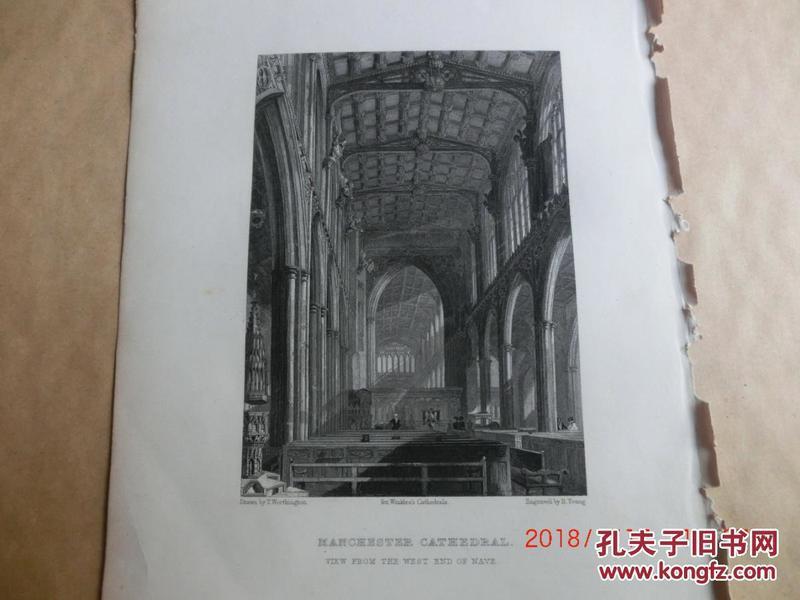 【現貨 包郵】1860年鋼版畫 英格蘭和威爾士教堂《 MANCHESTER CATHEDRAL  view from the west end of nave 》 尺寸26.4×17.4厘米