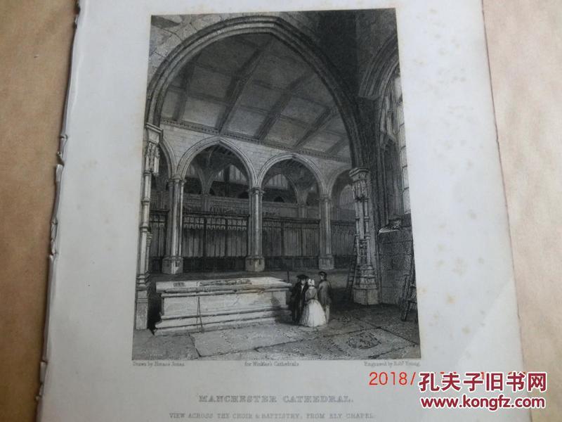 【現貨 包郵】1860年鋼版畫 英格蘭和威爾士教堂《 MANCHESTER CATHEDRAL  view across the choir & baptistry  》  尺寸26.4×17.4厘米
