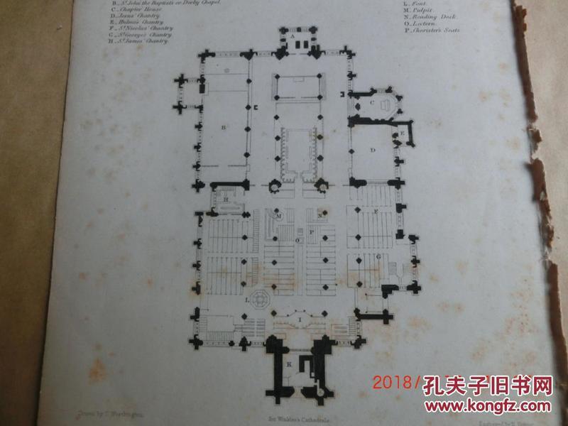 【現貨 包郵】1860年鋼版畫 英格蘭和威爾士教堂《 MANCHESTER CATHEDRAL 》平面圖    尺寸26.4×17.4厘