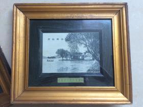 民国 平湖秋月 丝织 上海国民书局监制 原配镜框