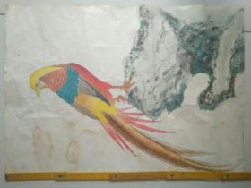 80年代名家绘画花鸟52x42公分