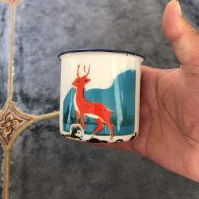 七十年代卡通小鹿儿童搪瓷缸