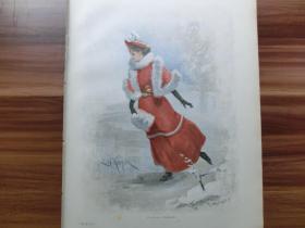 【现货 包邮】1890年套色木刻版画《冰舞女郎》(Winterfreuden) 尺寸约41*29厘米 (货号100951)