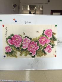 广东画家 张菊花 精美国画:春色满园 一幅 96CM*60CM