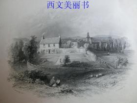 【现货 包邮】《牧师住宅和教堂》(Manse and Church)   1845年钢版画  出自《大卫·威尔基画集》 尺寸约34.8×25.5厘米  (货号18025)
