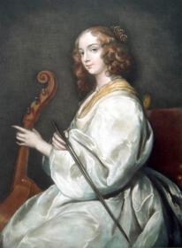 """1910年""""巨幅美柔汀""""版画《手拿小提琴的少女》——雕刻艺术家""""F. G. STEVENSON""""铅笔签名 原画框 63x51cm"""