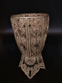 西洋 欧洲古董 餐具 银器 杯套 手工掐丝 193克