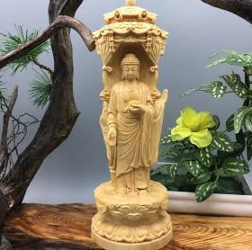 小叶黄杨木雕观音佛像摆件立莲花西方三圣实木雕刻工艺品家居摆件