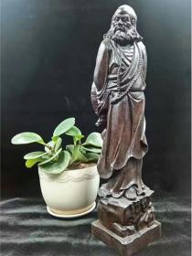 越南沉香木手把件达摩祖师佛像红木雕黑檀香工艺品崖柏如意摆件