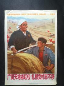 32开文革宣传画 广阔天地炼红心 扎根农村志不移