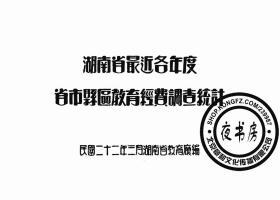 【复印件】湖南省最近各年度省市县区教育经费调查统计-1933年事-1933年版-