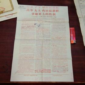 文革报纸:高举九大的团结旗帜争取更大的胜利(新江海报南通日报合印)(1969年)(8开套红)
