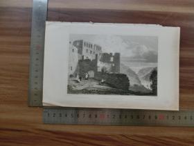 【现货 包邮】19世纪 铜/钢版画 单幅 RUINS OF RHEINFELS  (货号 200273)