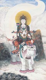 普贤菩萨画像 国画 113x66cm 四尺牛皮纸纸画芯 佛像画,高清牛皮纸仿古印制。