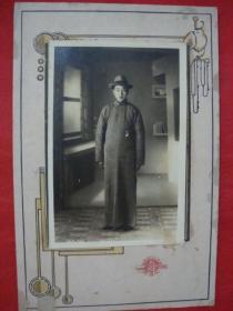 【民国老照片】身着长袍先生----浮雕卡纸镶嵌