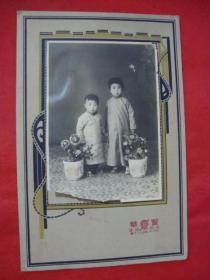 【民国老照片】俩身着长袍的萌萌小孩----浮雕卡纸镶嵌