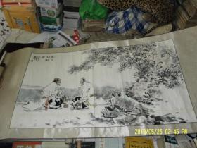 国画:松下称觥图   横幅   长125 宽69  厘米  画芯尺寸   题款印章自鉴