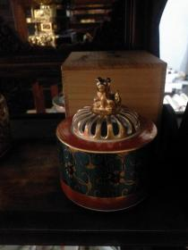 九谷烧香炉 青粒铁仙文 狮子纽盖 附炉灰 桐木箱 日本进口香道具