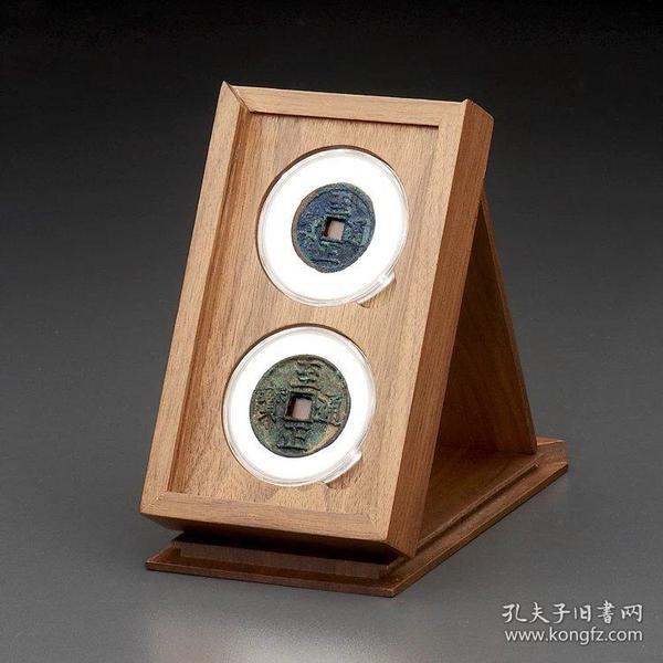 明式黑胡桃純實木素面錢幣對錢收藏匣(適用雙枚52圓盒)
