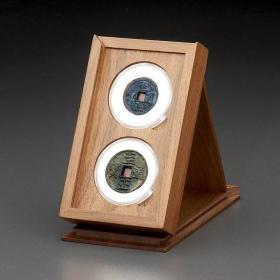 明式黑胡桃纯实木素面钱币对钱收藏匣(适用双枚52圆盒)