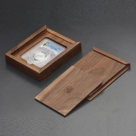 黑胡桃全實木(明式素面)PCGS評級幣單枚裝收藏盒