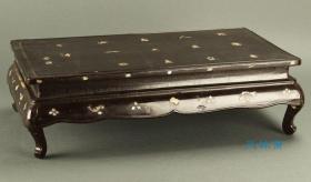 日本古董 螺钿汉诗 实木生漆小桌 茶台经几 榻榻米卓炕桌