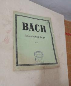 1938年出版bach-toccata-con-fuga【小8开老乐谱古典老版本钢琴曲谱类)【扉页有民国上海育才学校印印章】