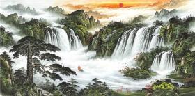 四尺横幅 国画 精品山水【青山绿水】未装裱画芯 多尺寸销售T
