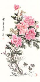 三尺条幅 国画 精品牡丹【花开富贵】未装裱画芯 多尺寸销售 T