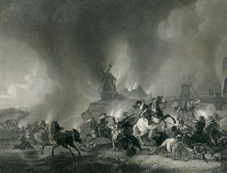 1850年鋼版畫 《騎兵戰》27×20.5厘米