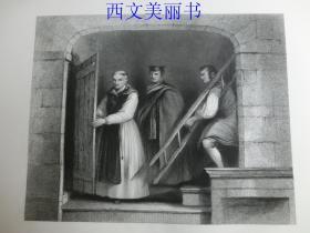 【现货 包邮】《威尔基在一个时期内沉浸于对牟利罗作品的研究》(WILKIE IN SEARCH OF MURILLO)  1845年钢版画  出自《大卫·威尔基画集》 尺寸约34.8×25.5厘米  (货号18025)
