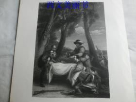 【现货 包邮】《菲利普·西德尼爵士之死》(THE DEATH OF SIR PHILIP SIDNEY)  1845年钢版画  出自《大卫·威尔基画集》 尺寸约34.8×25.5厘米  (货号18025)
