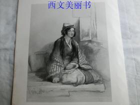 【现货 包邮】《切尔克斯女子》(A CIRCASSIAN LADY) 1845年钢版画  出自《大卫·威尔基画集》  尺寸约34.8×25.5厘米  (货号18025)