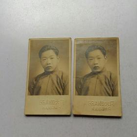 陆鸿奎 毛笔签赠【大同照相馆 民国老照片2张合售】