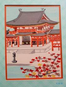 古建筑木版画 宇治平等院凤凰堂 日本进口 装饰挂画 附实木框
